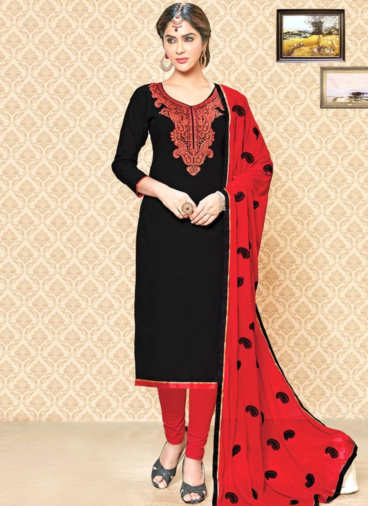 Graceful Black and Red Embroidered Work Cotton   Churidar Suit