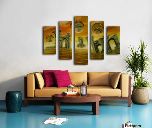 Walls in style, ideas, fine art, oil painting, canvas print, for sale, colorful, orange, golden, ancient, archeological, historical, ruins, temples, finds, buildings, era, sea, sky, sunset, bubbles, fantasy, scene, whimsical,surreal, figurative, contemporary, modern, painting, artwork, Polyptych, 5 split,  stretched, canvas, multi panel, prints