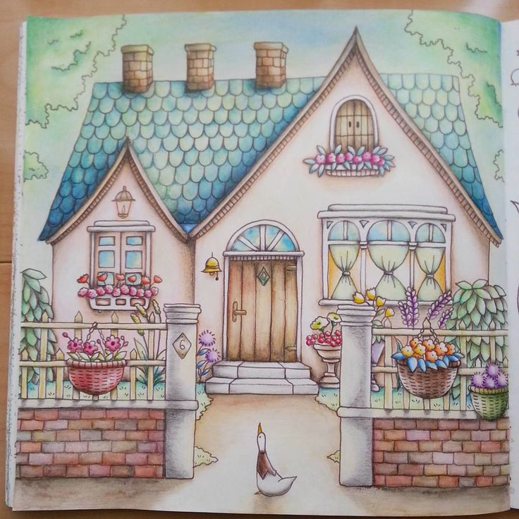 romantic country coloring book by eriy - Watercolor Coloring Book