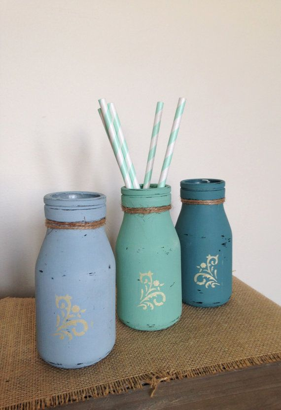 Set of 3 Rustic Bottles Painted & Distressed by ColourRustique