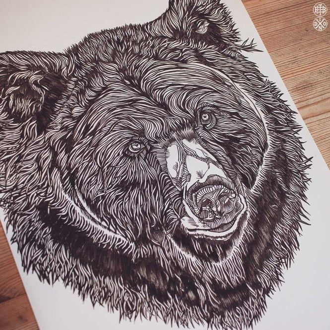 LUKE DIXON - - DETAILED BEAR - ORIGINAL ARTWORK -