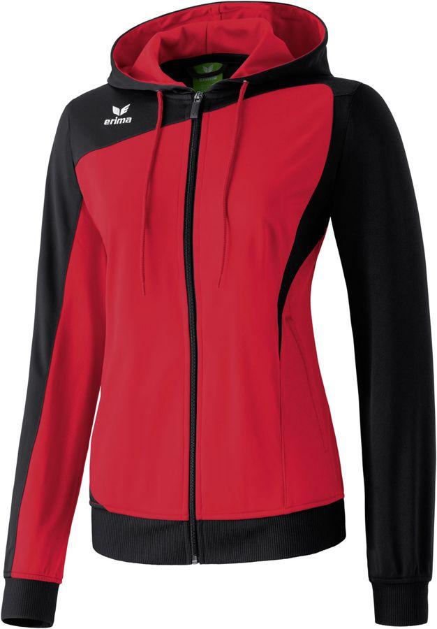 Erima CLUB 1900 Damen Trainingsjacke mit Kapuze rot-schwarz