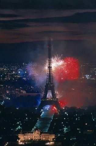 The French national holiday is celebrated every year on the morning of the 14th of July, beginning with a parade led by the President with cadets, motorised troops and air shows. At sunset the celebrations  with spectacular fireworks lighting up the skies all around the Eiffel Tower.
