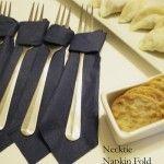 Folding a napkin into a necktie - Father's Day idea