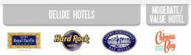 Comparison chart of Universal Studios (Orlando) on-site hotels -- Hard Rock, Royal Pacific, Portofino Bay, and Cabana Bay