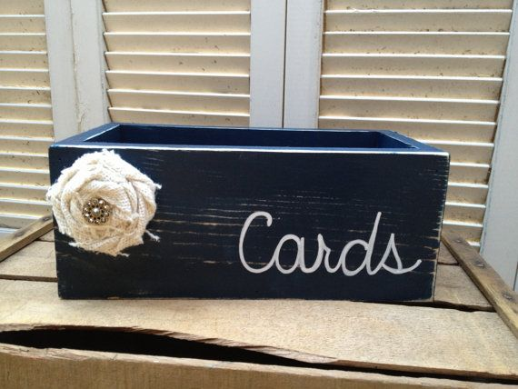Distressed Navy Blue and White Wedding Cards Box Navy Blue Wedding Decor