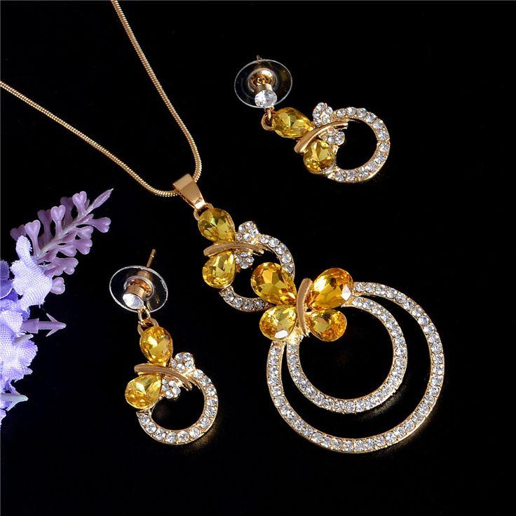 Мода Свадебные Аксессуары Африканские Бусы Ювелирные Наборы Женщины Кристалл Позолоченный Свадебный Ожерелье Серьги Набор