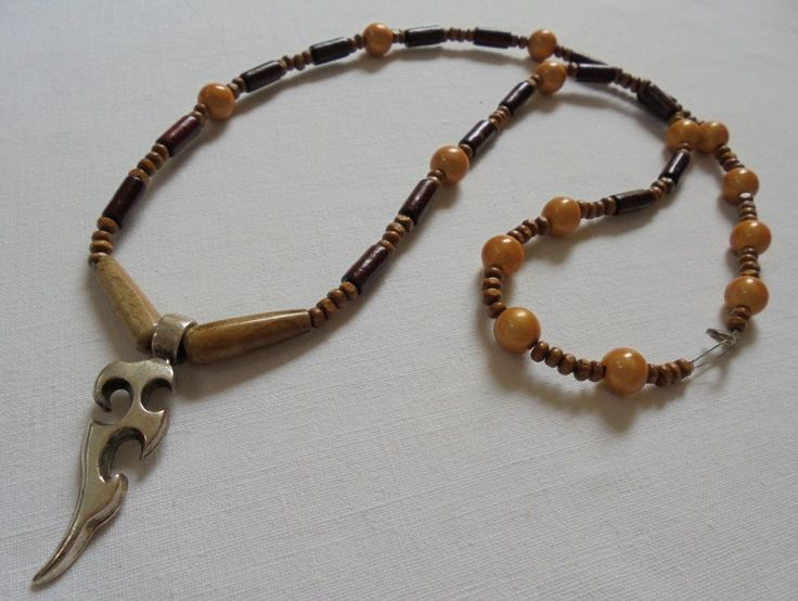 Unique Handmade Men's Pendant of Wooden, Acrylic & Horn beads with Metallic design. Length: 39cm