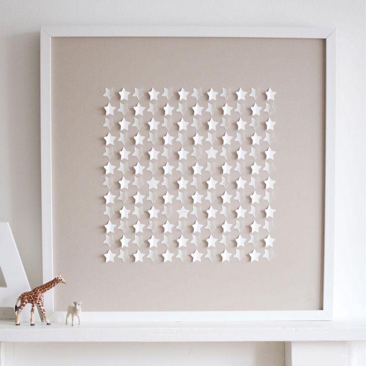 Sarah & Bendrix - Stars Beige, Framed Papercut, 50 x 50cm | ACHICA