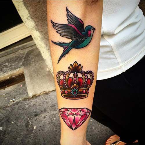 crown tattoo with bird and diamond elmas ve kuş ile taç dövmesi