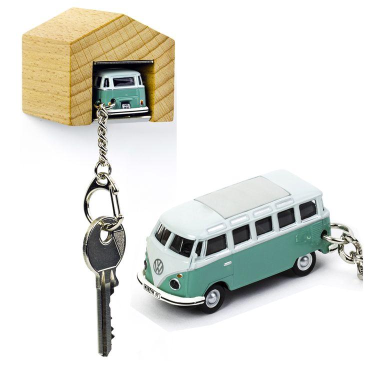 The Design Gift Shop - VW Bus Samba T1 keyring and wall fixed beech wood garage