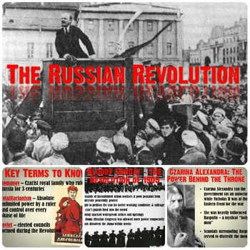 This is a thorough and visually-engaging PowerPoint presentation on the Russian Revolution. Over 18 fantastic slides, it covers every aspect of the Revolution for a Middle or High School World History class.Each slide includes engaging pictures to keep students focused and simple, bullet-pointed notes on each stage of the Russian Revolution.