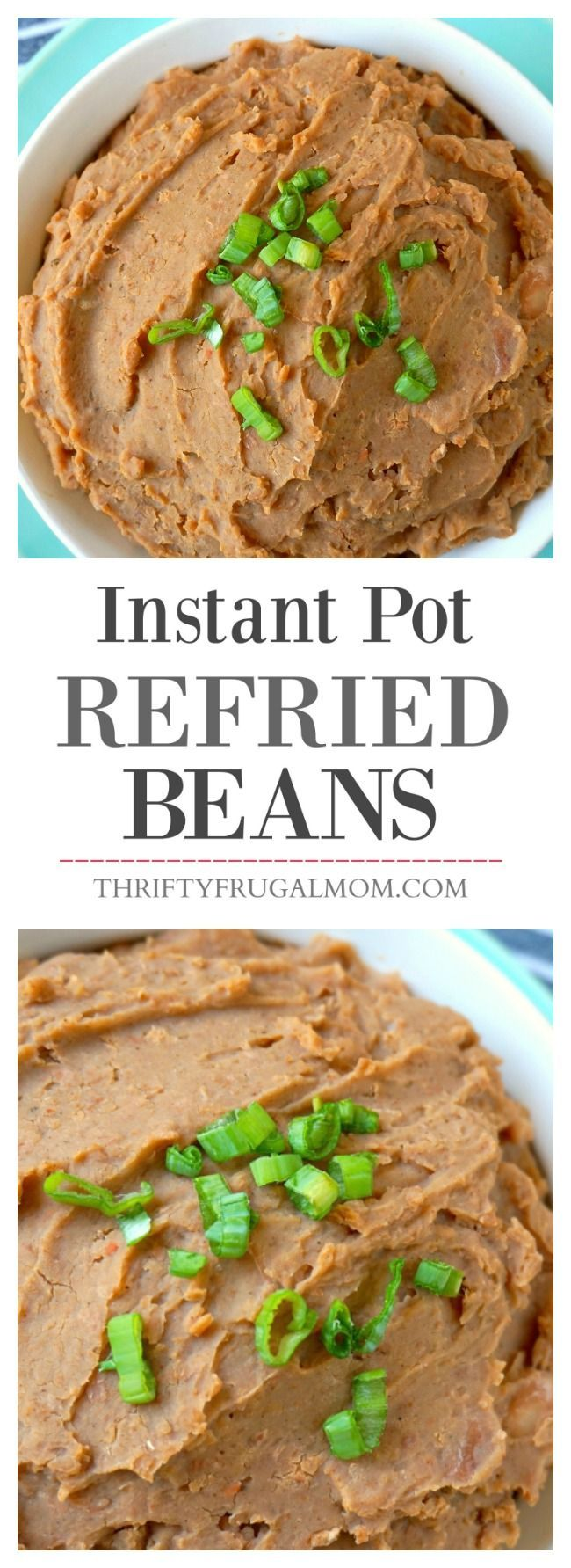 Homemade Refried Beans are SO good and they're such a cheap protein!  And with the Instant Pot, they take just 30 minutes of cooking time to make.  Includes instructions for making refried beans in your Crockpot as well.