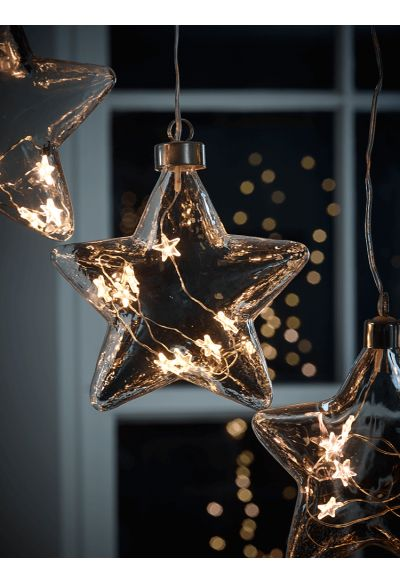 NEW LED Starry Glass Bauble - Tree Decorations - Christmas