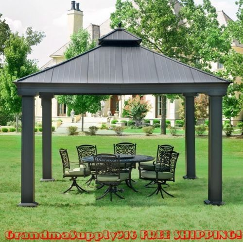 Have a lovely afternoon with your family in the shade of this beautiful outdoor metal gazebo!  New Outdoor Metal Hardtop Gazebo 12' x 12' x 12' Canopy Patio Grill Pergola Kits