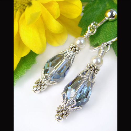 Crystal Clip On Earrings with White Pearls, Sparkly Blue, Non Pierced