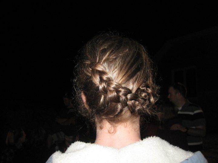 Camping swimming hair for curly hair. French braid twist