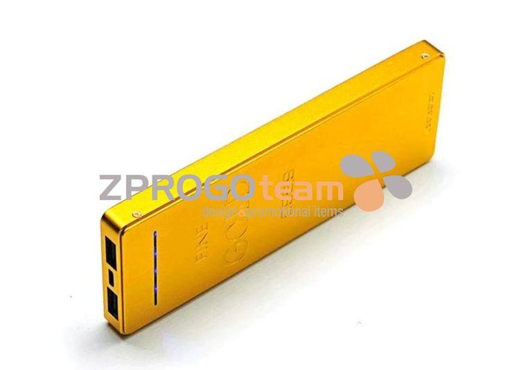 NEW: Metal Power bank in gold brick design.