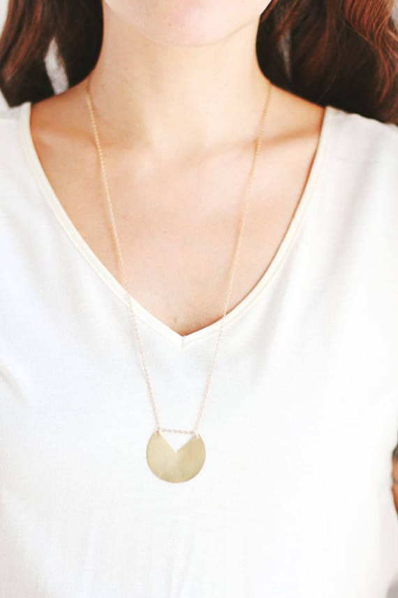 Long Minimalist Geometric Circle Necklace - Brass | 14k Gold Filled | Sterling Silver  Featuring a unique geometric brass circle charm in the metal of your choice, hung on 14k gold filled or sterling silver chain. Our metal charms start as Rare Bird original hand or digital illustrations, that are laser cut out of brass, nickel silver, sterling silver or 14k gold fill and finished by hand.  Length: Your choice of 18, 24, 28 chains **(24 & 28 chains have no clasps and slip right over the h...