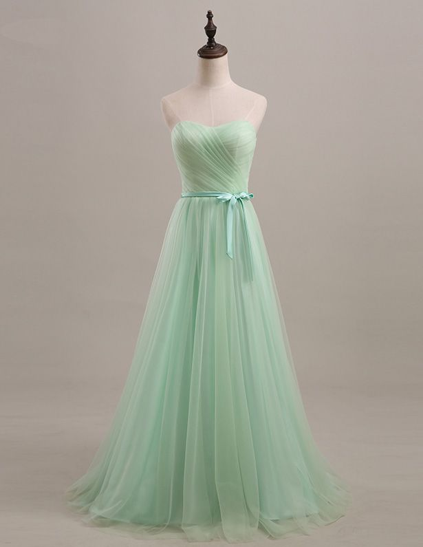 Simple Sweetheart Bow Sash Tulle Bridesmaid Dresses