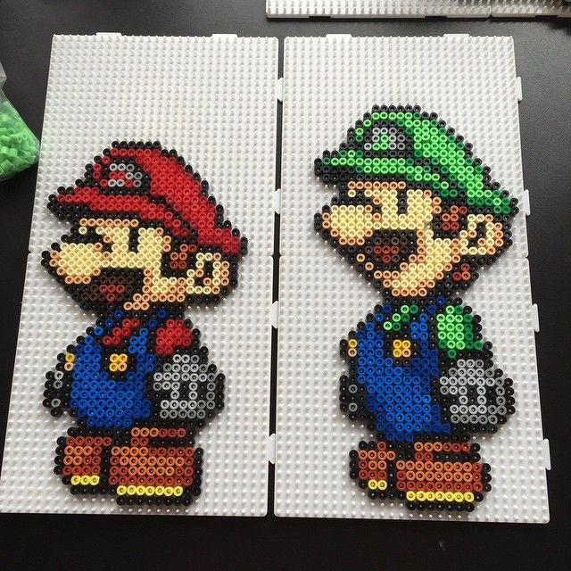 Mario and Luigi hama perler beads by aslaugsvava