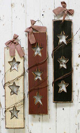 Triple Star Shutter with Twig Trim - Wall Decor - wonder what these would  look like