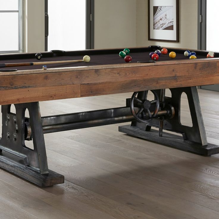 """American Heritage Billiards – the world's leading Pool Table, Game Table, Bar and Bar Stool manufacturer – presents the Da Vinci Pool Table. The Da Vinci is the embodiment of the movement of turning old into new again, combining an authentic reclaimed wood body with a classic yet rugged steel frame.Archimedes first demonstrated the use of a screw in 200 B.C. to create a machine to pump water. It was Leonardo Da Vinci in the late 1400's who first demonstrated the use of a """"screw jack"""" for…"""