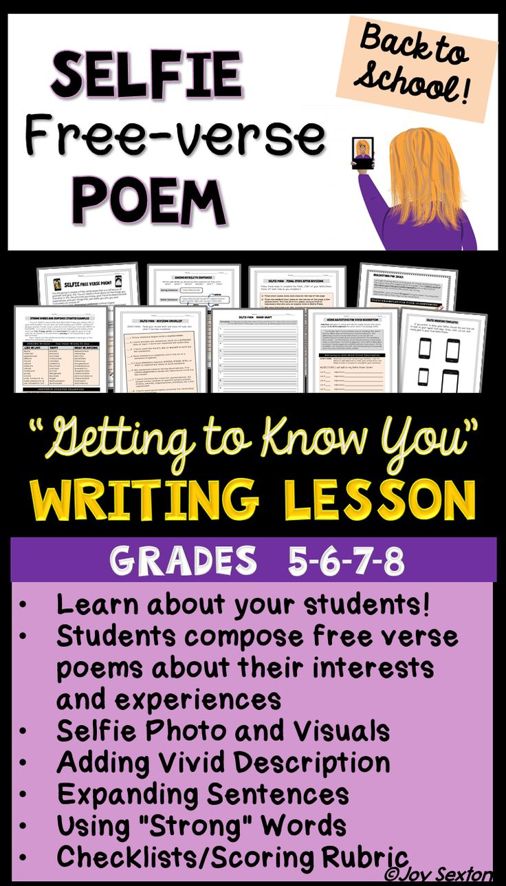 """Motivate your students with this fun, """"Getting to Know You"""" Writing Lesson, perfect for Beginning of the Year! Students create free verse poems about themselves and their interests while gaining practice with descriptive language and elaboration. Final student pieces, which include visuals and a """"selfie"""" photo, make a classroom display students LOVE to look at!"""
