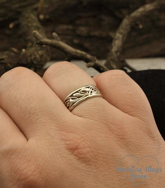 Vintage Style Braided Wedding Band With Leaves 14k White Gold Nature Ring Braided Wedding Ring Unusual Mens Ring Unique Womens Band Braided Wedding Rings Wedding Ring Designs Vintage Engagement Rings