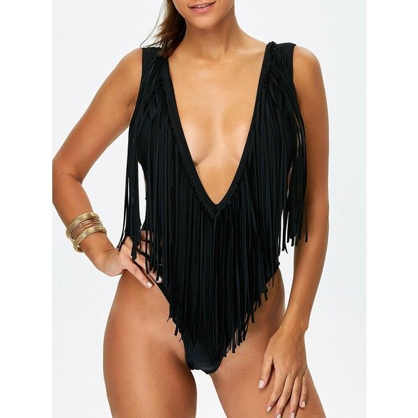 Fringed High Leg Plunge Swimsuit (£15) ❤ liked on Polyvore featuring swimwear, one-piece swimsuits, bathing suit swimwear, fringe bathing suit, swimsuit swimwear, plunge swimwear and swim suits