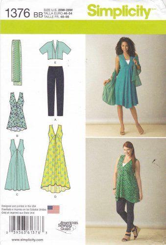 Simplicity Sewing Pattern 1376 Womens Plus Sizes 20W-28W Wardrobe jacket Dress Leggings