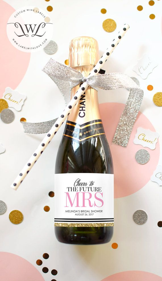 Custom Bridal Shower Mini Champagne Labels - Weatherproof Wedding Shower Favors Faux Glitter Miss to Mrs. Bachelorette Party Decorations. Perfect for a Kate Spade inspired Bridal Shower. Cute Hen Party Favor