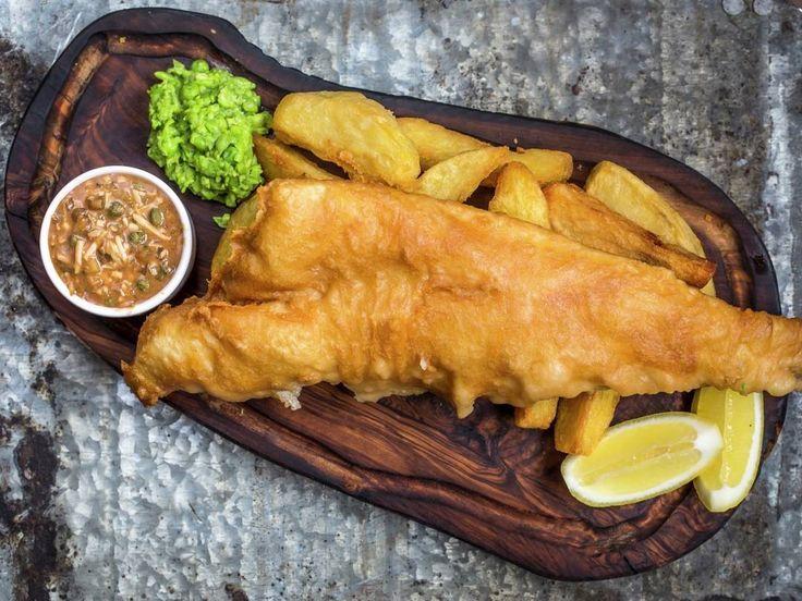 Gordon Ramsay's Classic Beer Badgers Fish and Mushy Peas