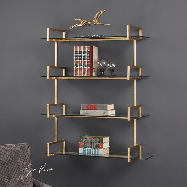 "Buy Uttermost 04038 Wall Shelf Auley with 4 Tempered Glass Shelves 40x32"" Antique Gold Iron 