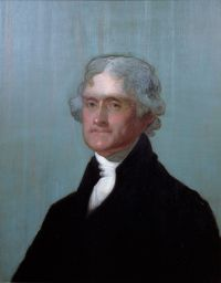 Portrait of Thomas Jefferson, 3rd President of the United States of America, by Thomas Sully (1821 or as early as 1805).  Courtesy the Thomas Jefferson Foundation at Monticello and the National Portrait Gallery, Smithsonian Institution.  Jefferson was succeeded as president in 1809 by his friend James Madison, and during the last seventeen years of his life, he remained at Monticello, his estate in Virginia.  During this period, he sold his collection of books to the government to form the…