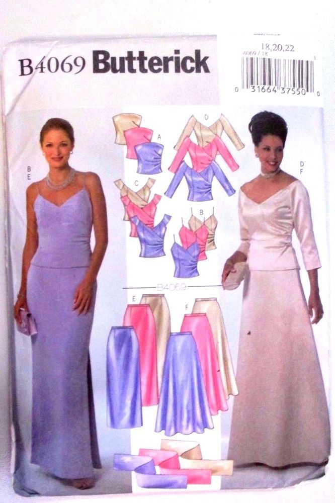 BUTTERICK  Sewing Pattern No.4069 Ladies evening skirt top sizes 18,20,22 new #VoguePatterns #Patterns