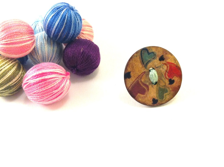 Wooden button ring with colorful heartsFREE 1 if by Mariabuttons