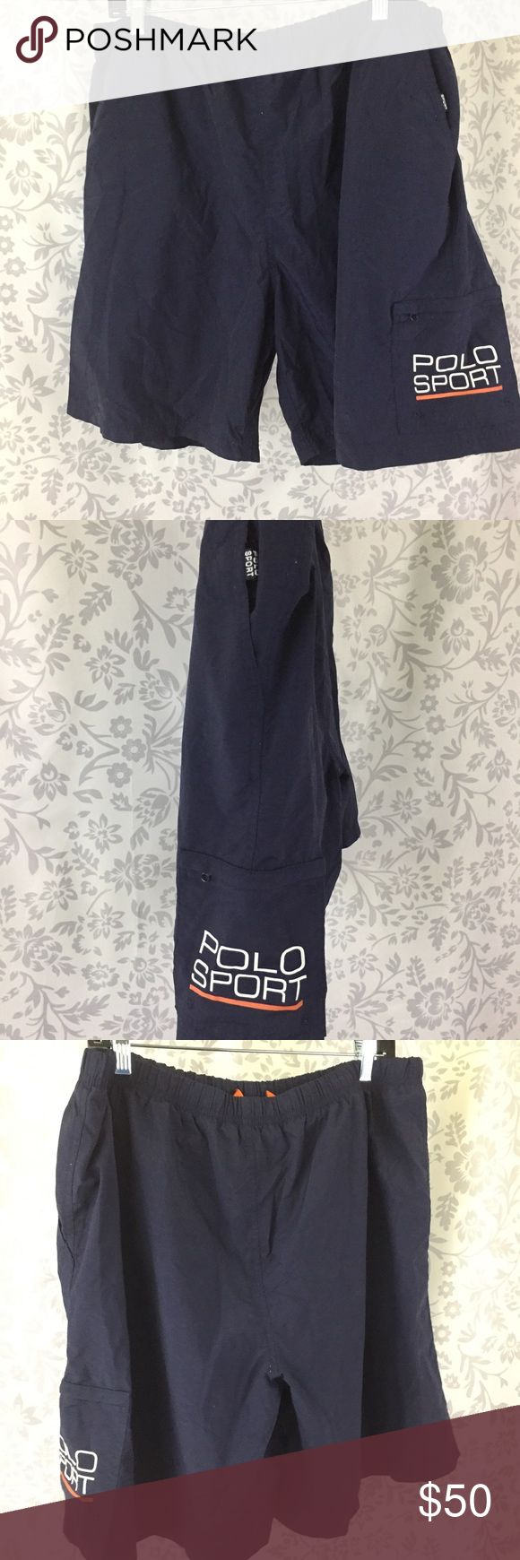 "Polo sport RL vintage 90s swim trunk nylon blue XL Awesome throw back large POLO SPORT written out on the side cargo pocket.  Netting inside with drawstring.   Gently preloved.   Approximate flat lay measurements: Inseam: 7.5"" Waist flat lay : 17"" Rise: 13""  A Polo by Ralph Lauren Swim Swim Trunks"