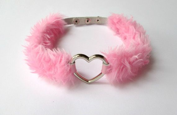 OMG Pink Love Heart Choker Necklace  Pastel Goth Furry by Kerenika