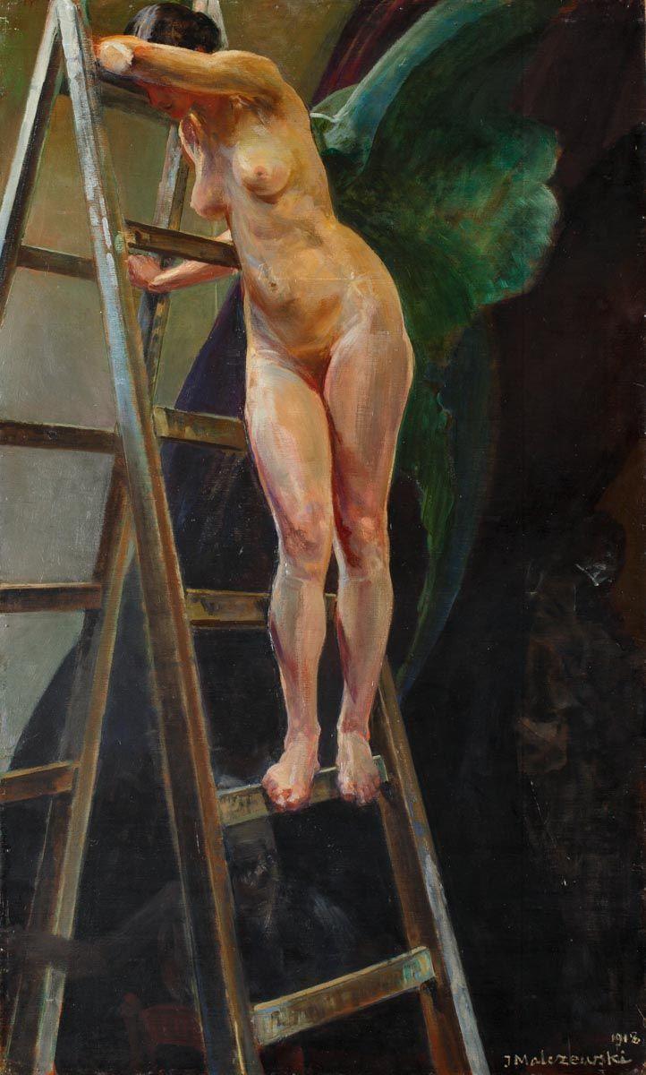 JACEK MALCZEWSKI (1854 - 1929)  MUZA NA DRABINIE, 1918   olej, deska; / 100x60,5 cm