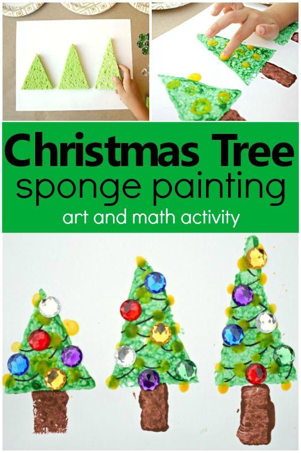 Christmas Tree Sponge Painting Fantastic Fun Learning Christmas Activities For Kids Preschool Christmas Christmas Activities