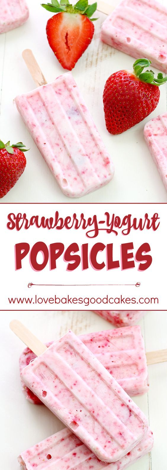 Strawberry-Yogurt Popsicles ~ made with just 2 healthy ingredients!