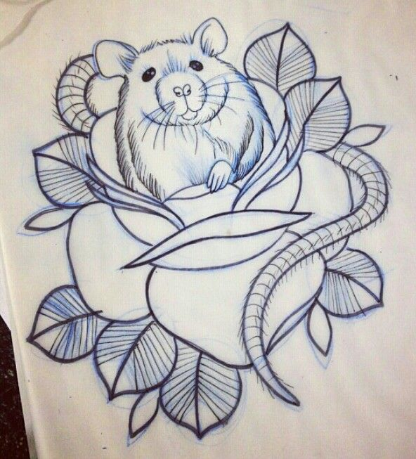 Old style rat in rose tattoo