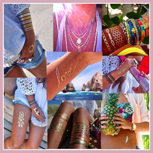Tijdelijke Tatoeages, plak tatoeage, nep tatoeage, fake tattoo, temporary tattoo, gold, silver, colors, ibiza, bohemian, boho lifestyle