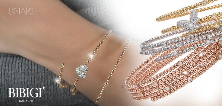 Bracciale - Bracelet Sinuosi e brillanti avvolgono dita e polsi. Sono gli anelli e i bracciali della collezione Snake di Bibigì, gioielli a forma di serpente in oro bianco, giallo e rosa impreziositi da diamanti bianchi, brown e rubini.
