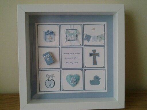 Christening frame gift showing boys/girls name, 'Christening Day', and date in centre square