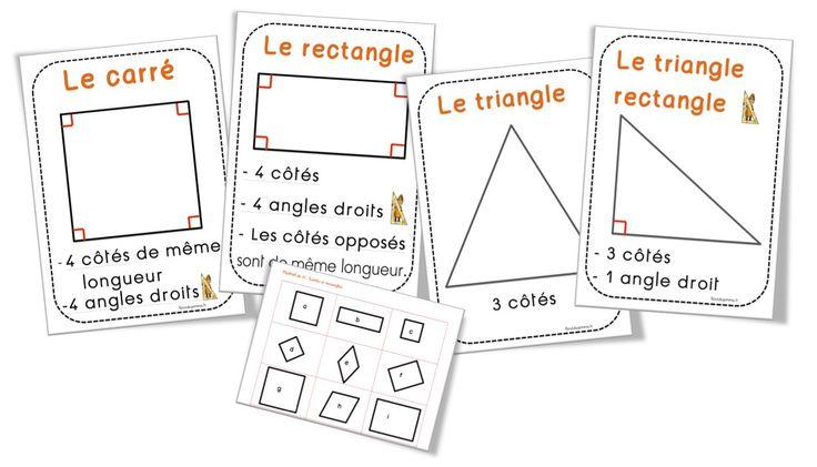 Les affichages et matériel sur le carré , le rectangle , le triangle et le triangle rectangle. Voilà , nous y sommes enfin ! A l'étude des polygones particuliers. Ce sont vraiment des séances facil...