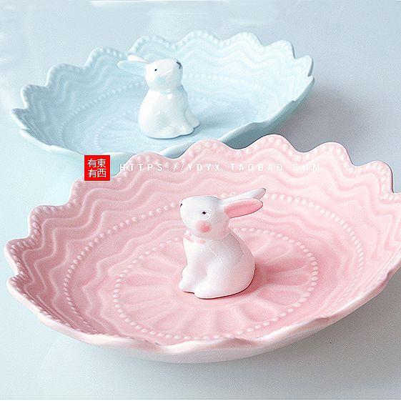 Акции керамическая тарелка с фруктами перекус с фруктами творческий керамическая блюдо пластина бытовых милый кролик тарелки