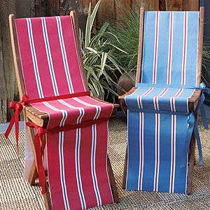 Cover outdoor folding chairs with red, white, and blue-striped canvas fabric to add some originality.