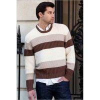 Spoleto Men's Texture-Stripe Pullover in Zara and Zara Chiné | InterweaveStore.com